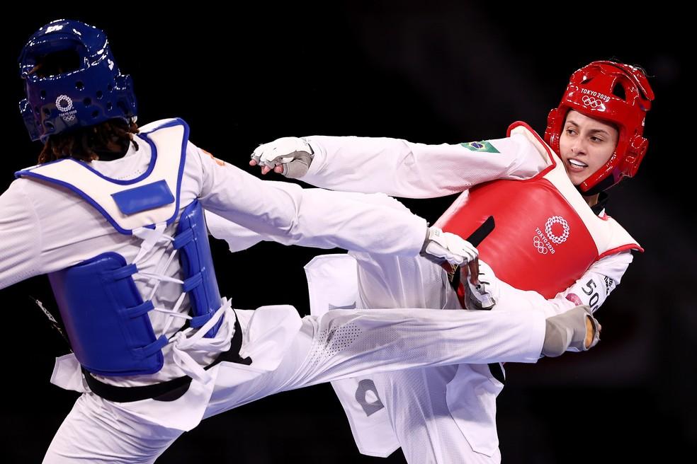 Milena Titoneli, do Brasil, disputou com a marfinense Ruth Gbagbi o bronze do taekwondo feminino, categoria até 76kg, dos Jogos Olímpicos de Tóquio